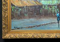 Fine Large Original Vintage Parisian Street Cityscape Impressionist Oil Painting (9 of 11)