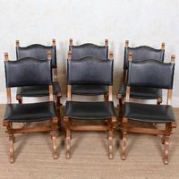 6 Oak Gothic Dining Chairs Carved (10 of 14)