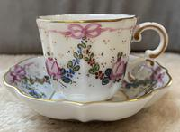 Limoges Hand Painted Cup and Saucer With Swag And Floral Decoration (4 of 4)
