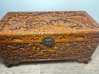 Chinese Camphor Wood Carved Birds & Flowers Chest Coffee Table (3 of 34)