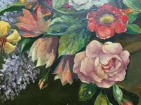 An Extraordinary Original 1952 Vintage French Still Life Of Flowers Oil Painting (8 of 11)