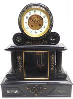 Fine Antique French Slate & Marble Regulator Mantel Clock 8 Day Striking Mantle Clock with Visible Jewelled Escapement (2 of 12)