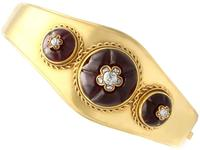 23.59ct Garnet & 0.32ct Diamond, 20ct Yellow Gold Bangle - Antique c.1890