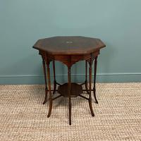 Striking Figured Rosewood Victorian Inlaid Antique Occasional Table (5 of 7)