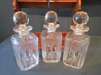 Antique Polished Oak & Ebony Three Bottle Tantalus (4 of 11)