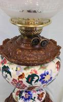 Antique Pottery Oil Lamp & Shade Globe (5 of 12)