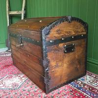 Antique Steamer Trunk Victorian Dome Top Chest Old Rustic Pine Blanket Box + Key (7 of 10)