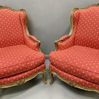 Pair of French Painted Wing Armchairs (6 of 8)