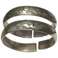 Pair Chinese Republic Silver Plate Bracelet Bangles Dragons Fenghuang Phoenix