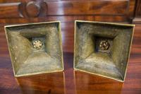 Pair of Short, Cast Brass Neoclassical Candlesticks. Regency Period c.1820 (4 of 4)