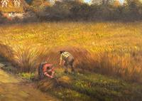 Original Victorian Harvest Countryside Landscape Oil Painting (7 of 10)