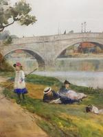 The Thames at Richmond -  Antique Watercolour by James Aumonier (4 of 4)