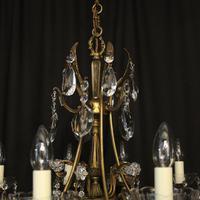 Italian 10 Light Gilded & Crystal Chandelier (10 of 10)