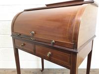 Antique Edwardian Mahogany Inlaid Cylinder Top Desk (2 of 14)