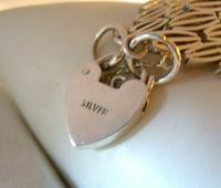"Vintage Sterling Silver Gate Bracelet 1975 Chunky Heart Padlock 7 1/2"" Length 35 Grams (8 of 10)"