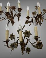 Vintage French Set of Three Wall Lights Sconces Rustic Gilt Bronze Lilies (3 of 10)