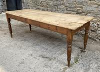 Large Antique Pine Farmhouse Table on Turned Legs (3 of 19)