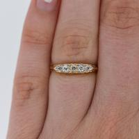 Antique Victorian Old Cut Diamond Five Stone 18k 18ct Yellow Gold Scroll Ring (8 of 9)
