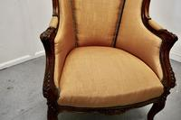 French Carved Walnut & Salon Chair, Upholstered in Silk (6 of 10)