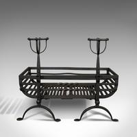 Antique Fire Basket, Pair of Andirons, English, Iron, Fireside, Victorian, 1900 (5 of 12)
