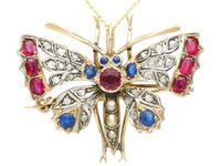 Pearl, Sapphire, Ruby & Diamond, 9ct Yellow Gold Butterfly Pendant / Brooch - Antique c.1880