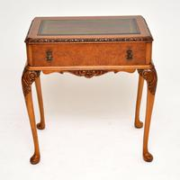Antique Burr Walnut Leather Top Writing Table / Desk (3 of 10)