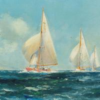 Pair of Oil Paintings of Clyde One Design Yachts Racing by Frank Henry Mason (3 of 12)