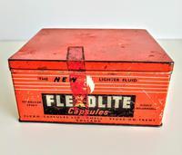 Vintage Advertising Tin for Flexolite  Lighter Fuel Capsules