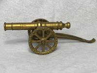 Small Antique French Victorian 19th Century Brass Cannon Ornament (6 of 18)