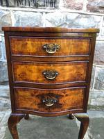 Antique Burr Walnut 3 Drawer Bedside Chest (3 of 8)