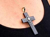 Black Onyx, Diamond, Yellow Gold Cross Pendant (9 of 9)