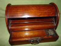 Compact Figured Oak Roll Top Stationery Box. c1900 (2 of 14)