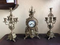 Antique French Gilded Bronze 8 Day Striking Garniture Set / Mantel Clock