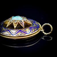 Antique Blue Enamel Opal and Diamond Star 15ct Gold Oval Locket Pendant (6 of 11)