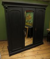 Antique Black Painted Triple Linen Press Wardrobe in 4 Parts, Gothic Shabby Chic (19 of 19)