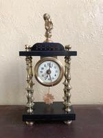 Rare Antique French Small Portico Alarm Clock