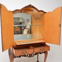 Antique Queen Anne Style Burr Walnut Cocktail Cabinet (5 of 11)