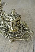 Fine William Tonks & Sons Brass Inkwell Registered Diamond for 1883 Double Inkstand (8 of 10)