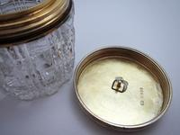 Antique Victorian 1863 Solid Sterling Silver Gilt Lidded Top & Cut Glass Vanity Trinket Dressing Table Box Jar Pot Bottle Container (7 of 8)
