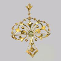 Edwardian 15ct Gold Peridot & Pearl Pendant Antique Art Nouveau Brooch Circa 1910 (12 of 12)