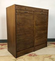 Vintage French Mid Century Filing Cabinet Tambour Roller (3 of 11)