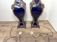 Pair of French Large Rams Heavy Bronze Blue Ceramic Table Lamps (44 of 46)