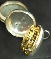 Antique Silver Pair Case Pocket Watch Fusee Verge Escapement Key Wind Enamel Dial Richardson London (4 of 13)