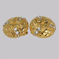 Chanel Rhinestone Earrings Crystal Vintage Gold Tone Quilted Earrings with Box (3 of 5)