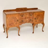 Antique Queen Anne Burr Walnut Sideboard