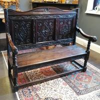 Stunning Heavily Carved Gothic Revival Oak Settle (14 of 14)