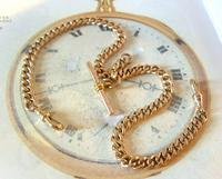 Victorian Pocket Watch Chain 1890s Large 10ct Rose Gold Filled Double Albert & T Bar (4 of 11)