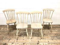 Set of Four Antique Beech & Elm Farmhouse Dining Chairs (2 of 8)