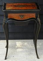 Fine Quality 19th Century French Ebonised & Amboyna Serpentine Sewing Table (21 of 21)