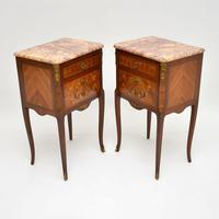 Pair of Antique French Inlaid Marble Top Bedside Chests (8 of 12)